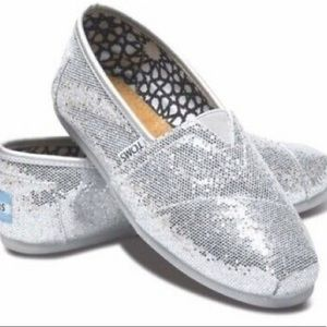 Toms Classic Canvas Silver Glitter Shoes Size 8.5